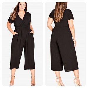 City Chic Wrap Front Crop Jumpsuit Sz 14 Black